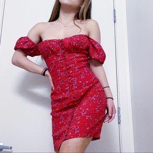 Rat & Boa Red Strapless Dress